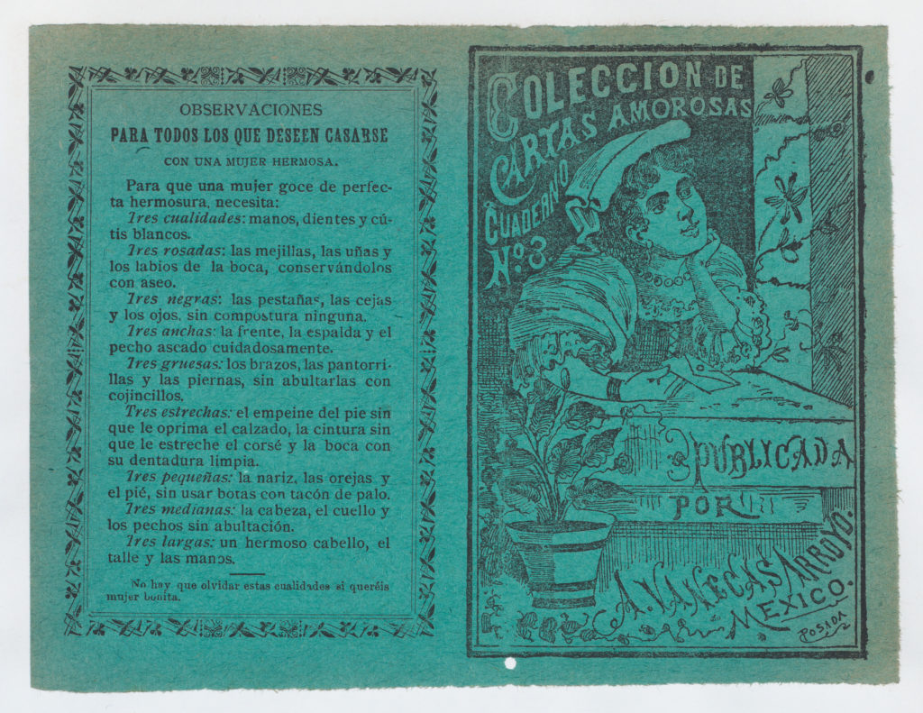 Cover for 'Coleccion de Cartas Amorosas Cuaderno No. 3', a young woman holding a letter and resting her head on her hand as she looks out a window