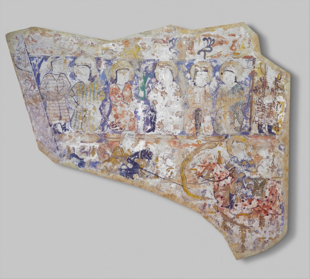 Fragment of Wall Painting with a Scene of Two Horsemen Slaying a Serpent
