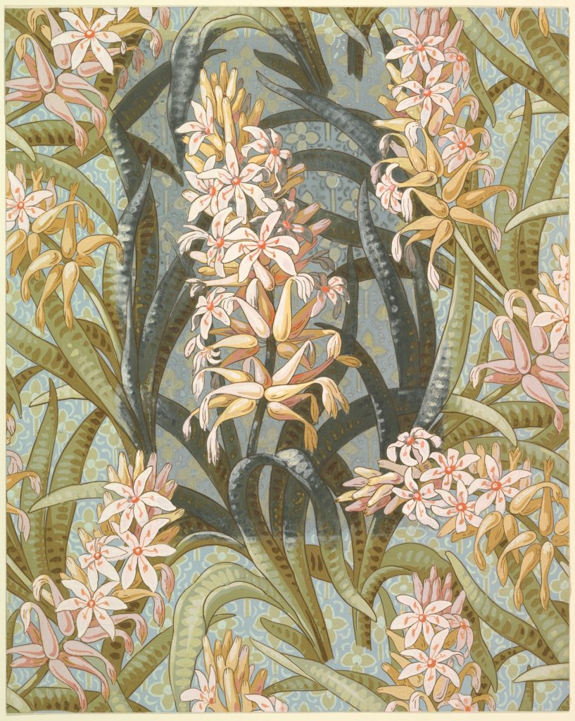 Wallpaper Design with Hostas or Marsh Lilies