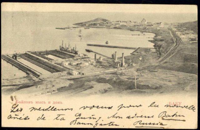 Bailov cape and ship dock in Baku