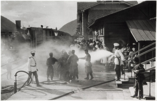Baku. A scene of forced washing of people at the railway station.