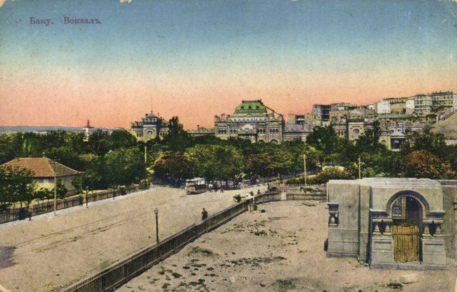Baku, an equestrian tram and a railway station.