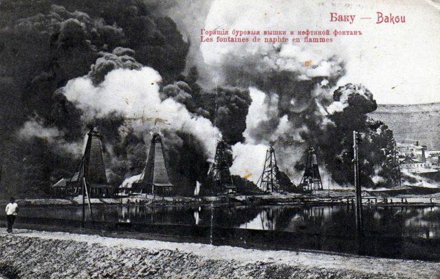 Baku. Fire in the oil field.