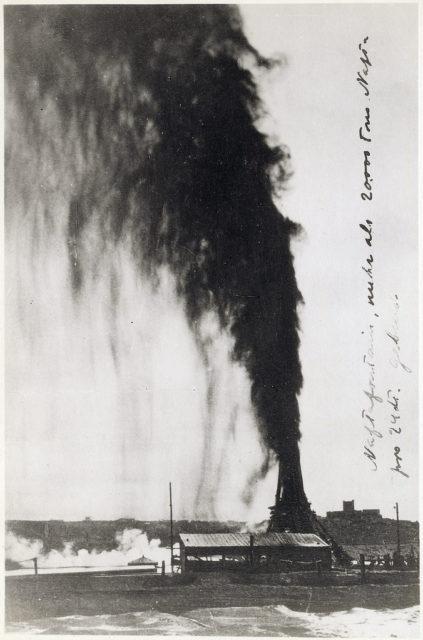 Baku. Oil fountain in the oil field.