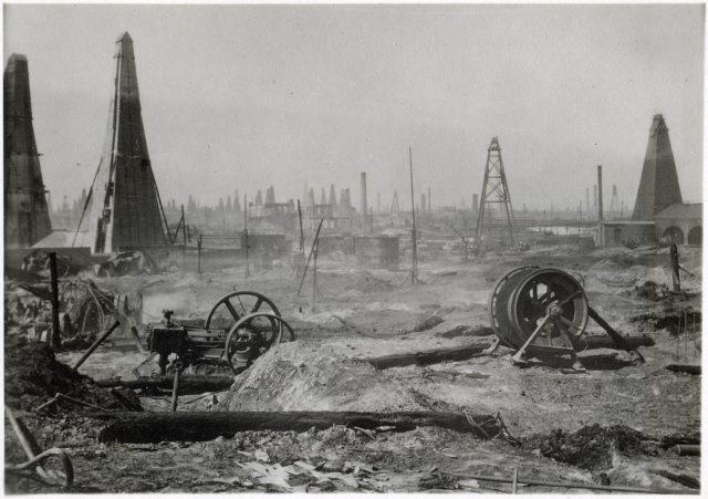 Baku. Oil production.