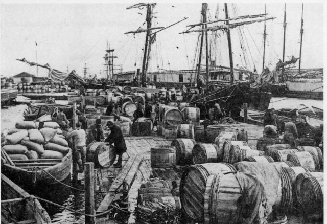 Barrels with tar ready to be loaded onto ships. Arkhangelsk (Archangel)