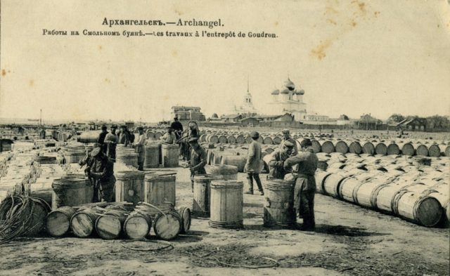 Smolny buyan - Barrels with tar ready to be loaded onto ships. Arkhangelsk (Archangel)