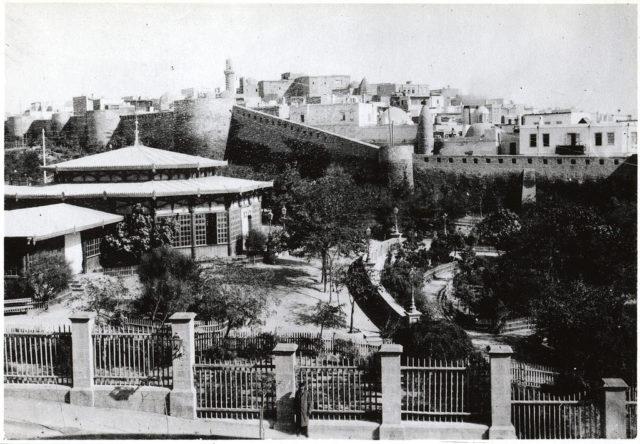 City garden and fortress wall. Baku.