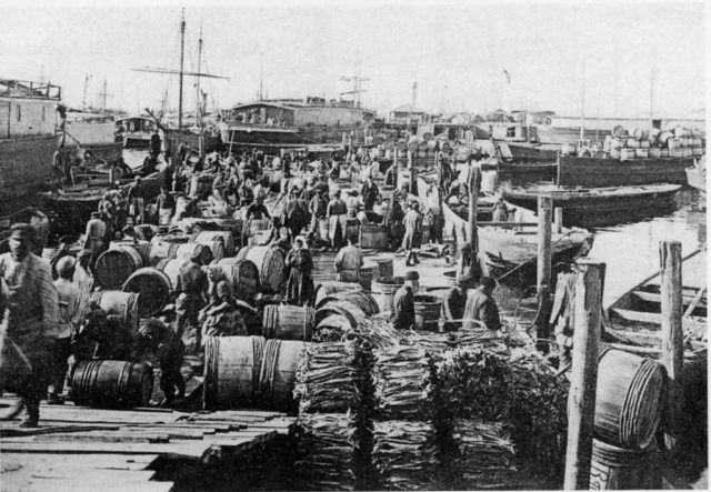 Dried fish and Barrels with tar ready to be loaded onto ships. Arkhangelsk (Archangel)