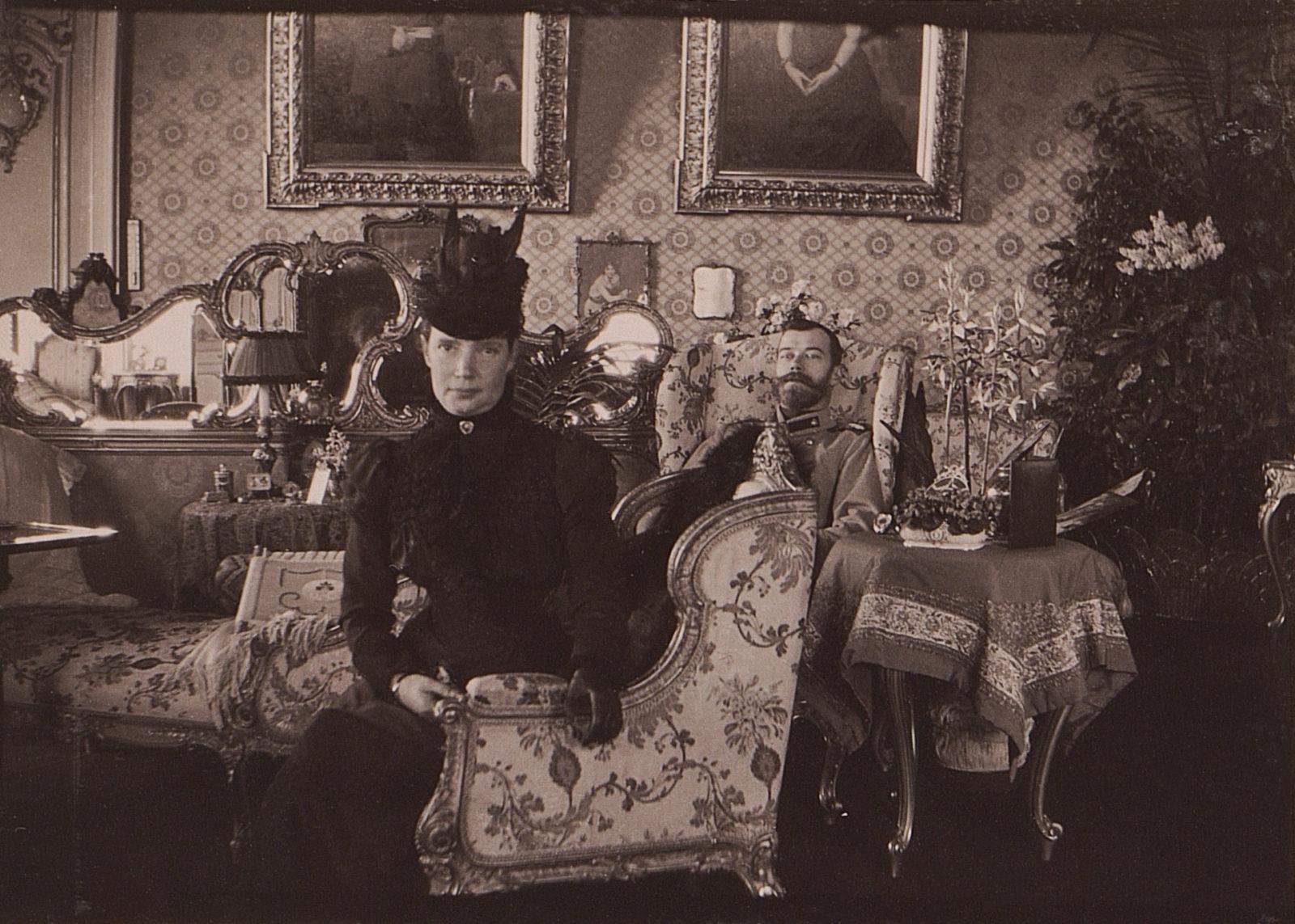 Emperor Nicholas II with his mother Empress Maria Feodorovna