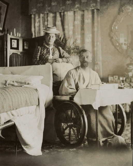 Emperor Nicholas II with his sister , Grand Duchess Xenia Alexandrovna during a typhoid fever. Livadia, 1900