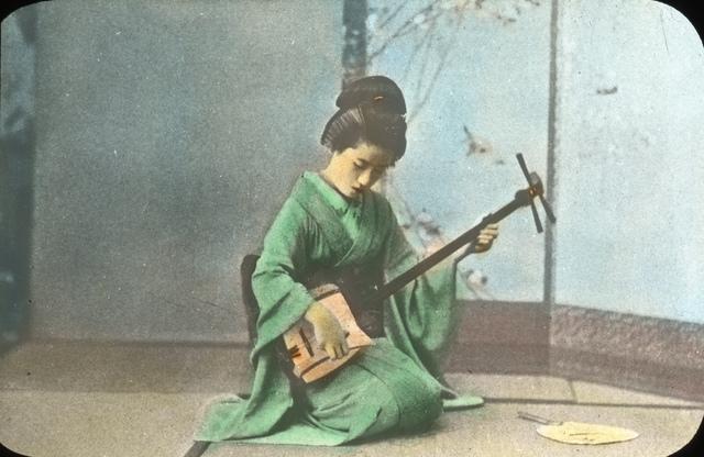 Geisha Girl Playing the Samisen