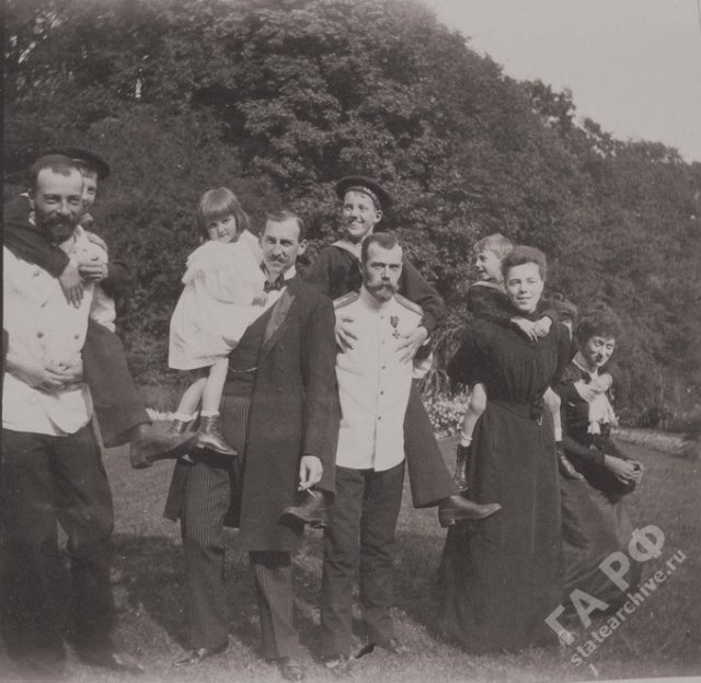 Group portrait. The family of the Russian Emperor Nicholas II visited his relatives in Germany. Amateur photos from the album of the Romanov family 1899-1900.