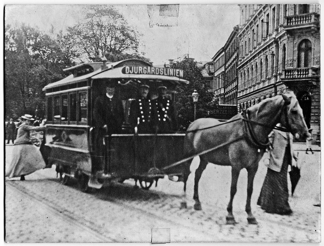 Horse drawn tram in Stockholm around 1900