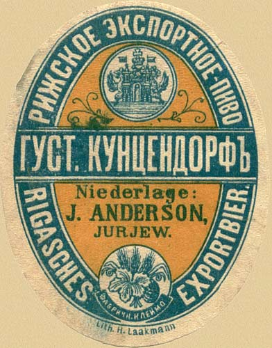 Jurjew. Russian beer label - 1900