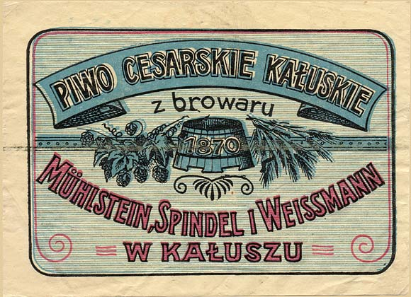 Kalusz. Russian beer label - 1900