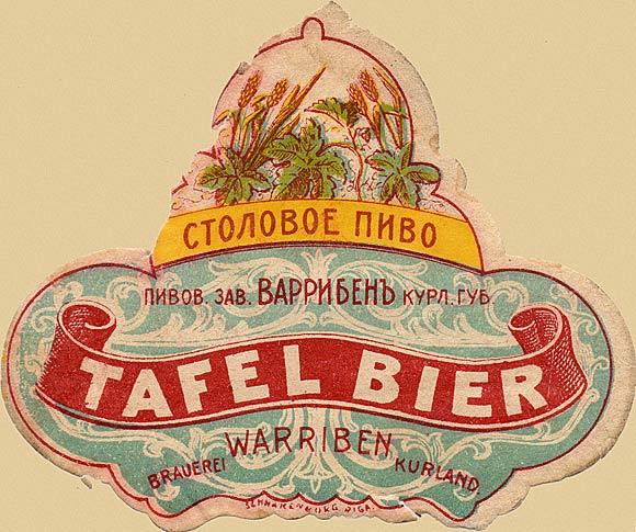 Kurland. Russian beer label - 1900
