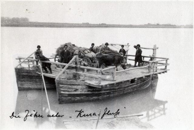 Local peasants on the ferry. Neighborhoods of Baku.
