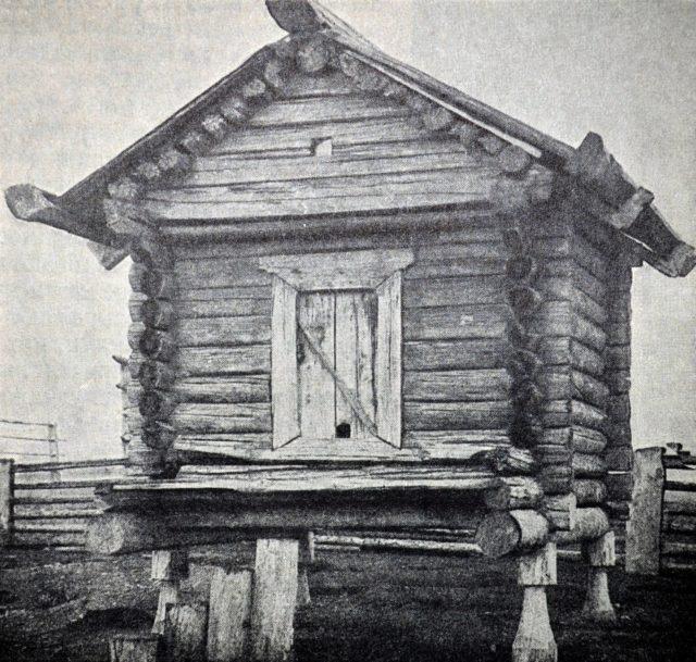 Neighborhoods of Pinega. Peasant barn on poles in the village of Vaymush (Vaymushi) on the Pinega River.