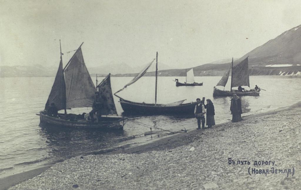 Novaya Zemlya. Pomor boats.