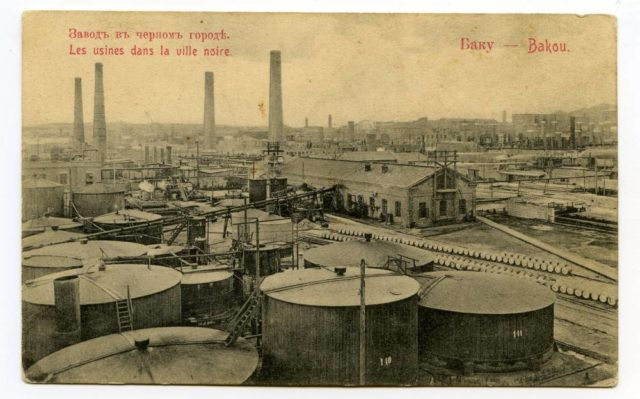 Oil refinery in a black city, Baku.