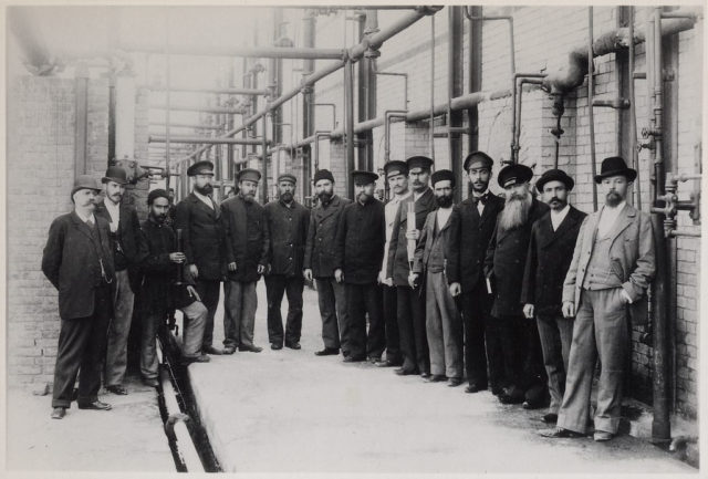 Oil refinery workers, Baku