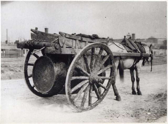 Primitive vehicle for oil transportation.