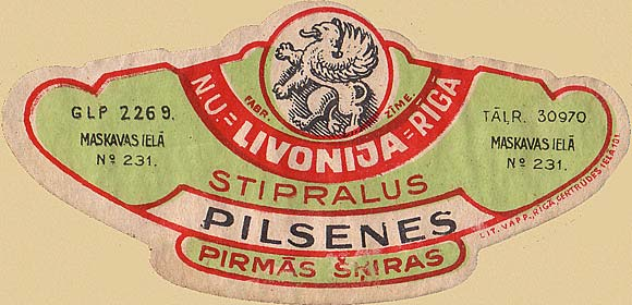 Riga. Russian beer label - 1900