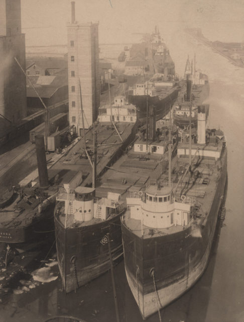 Ships docked in Goderich Harbour, date unknown