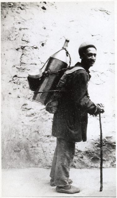 Street peddler. Old city, Baku.