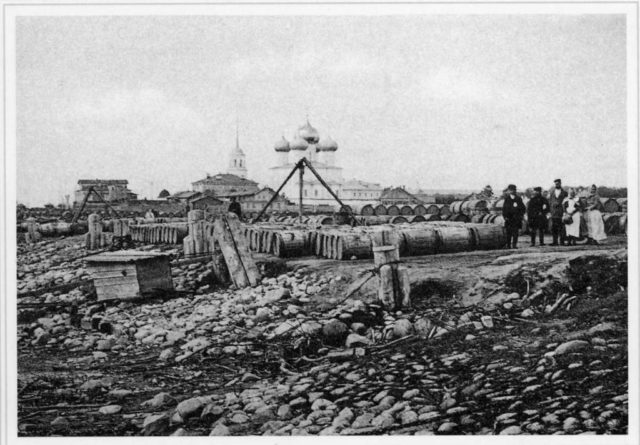 Tar barrels. Port of Arkhangelsk (Archangel)