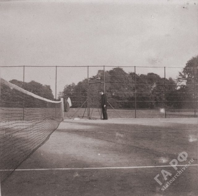 Tennis play. The family of the Russian Emperor Nicholas II visited his relatives in Germany. Amateur photos from the album of the Romanov family 1899-1900.