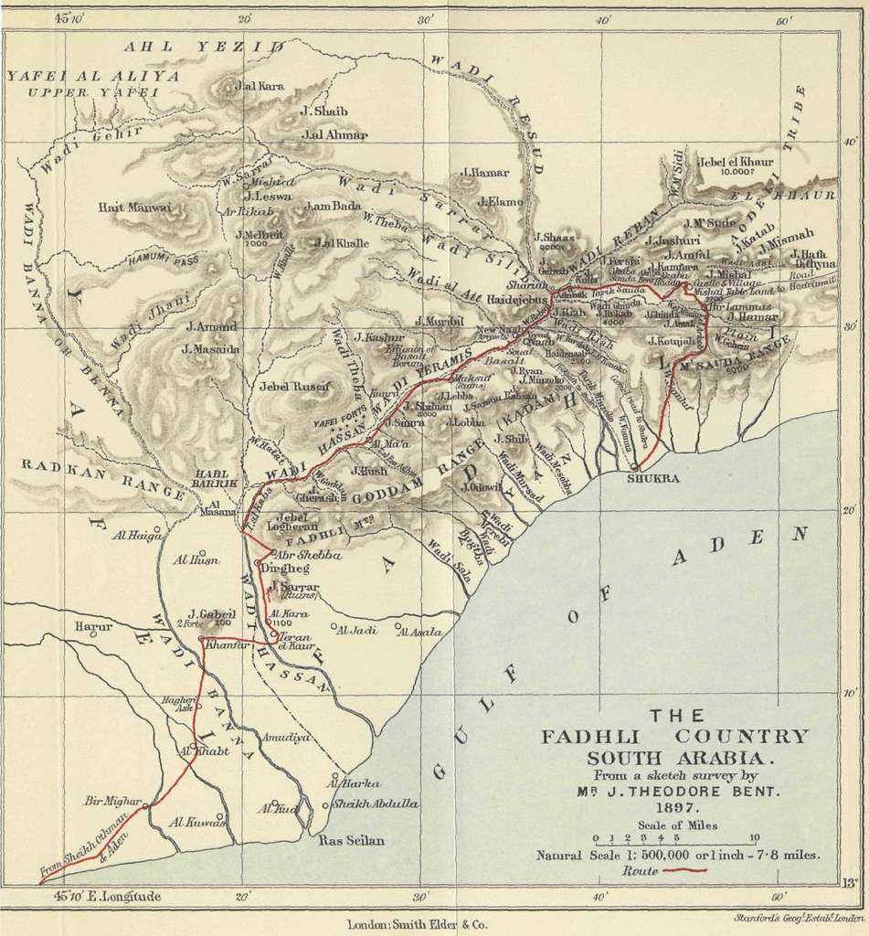 The Fadhli Country South Arabia from a sketch survey by Theodore Bent