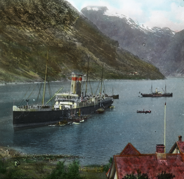 """The Viking"" aground in the Geiranger fjord, 1910"