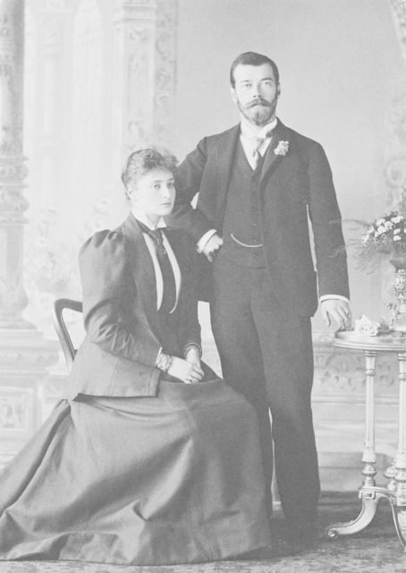 Tsarevich Nikolai Romanov with his wife Alexandra Feodorovna