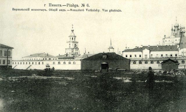 View of Verkolsky Monastery, Pinega, Arkhangelsk region, Russia