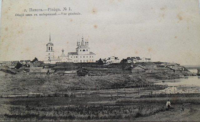 View of Verkolsky Monastery from the river, Pinega, Arkhangelsk region