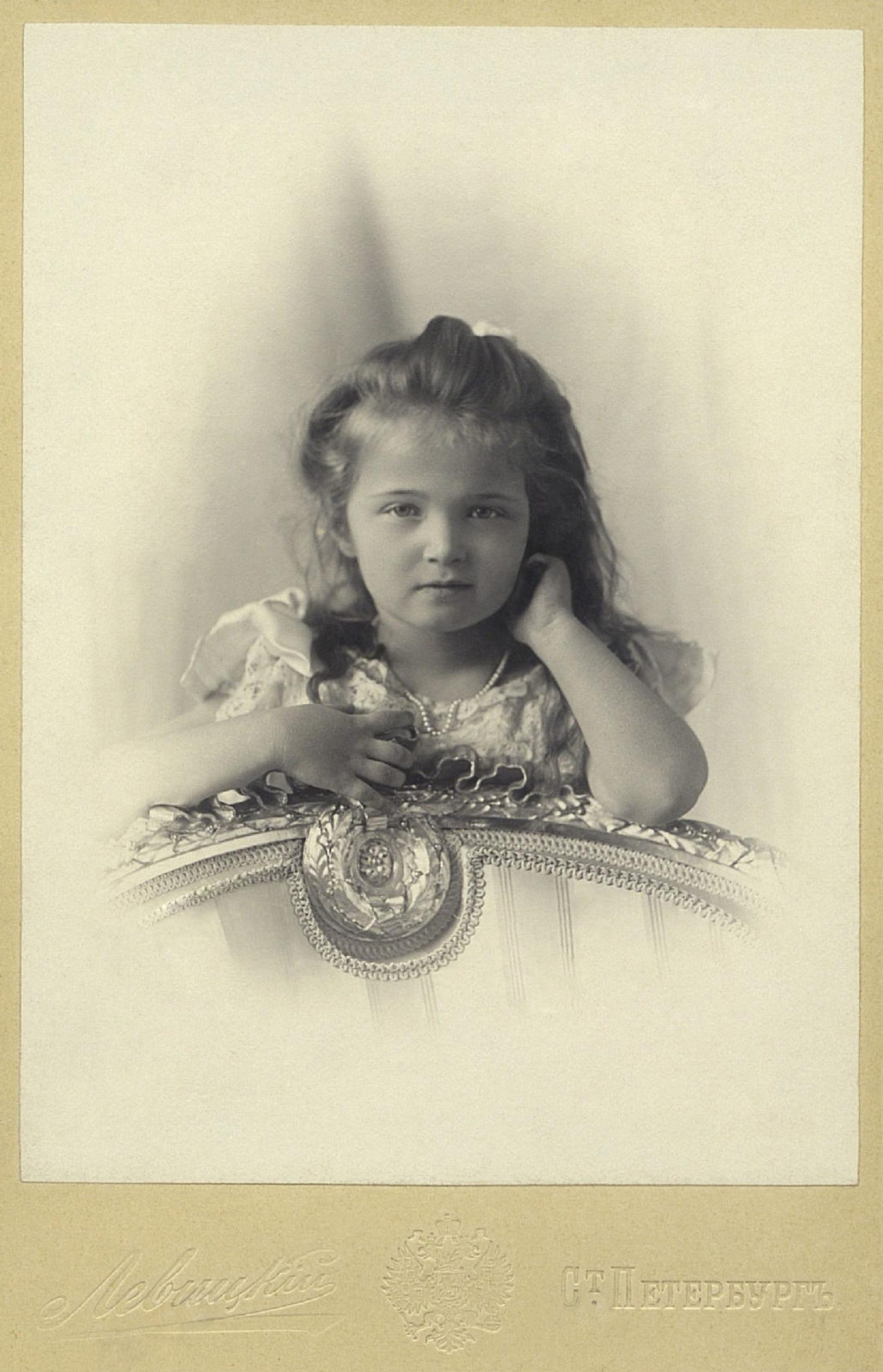 Grand Duchess Olga Nikolaevna. The first daughter of Emperor Nicholas II and Empress Alexandra Feodorovna. Photo of Levitsky, 1901.