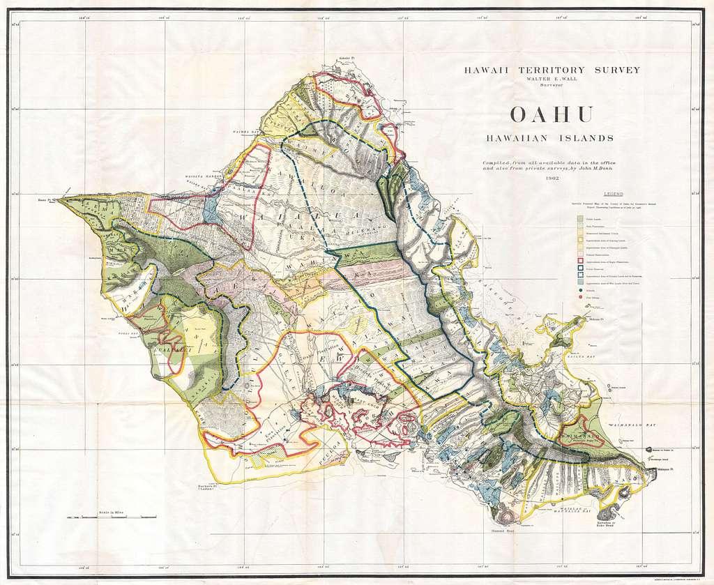 1902 Land Office Map of the Island of Oahu, Hawaii ( Honolulu ) - Geographicus - OhauHawaii-lo-1902