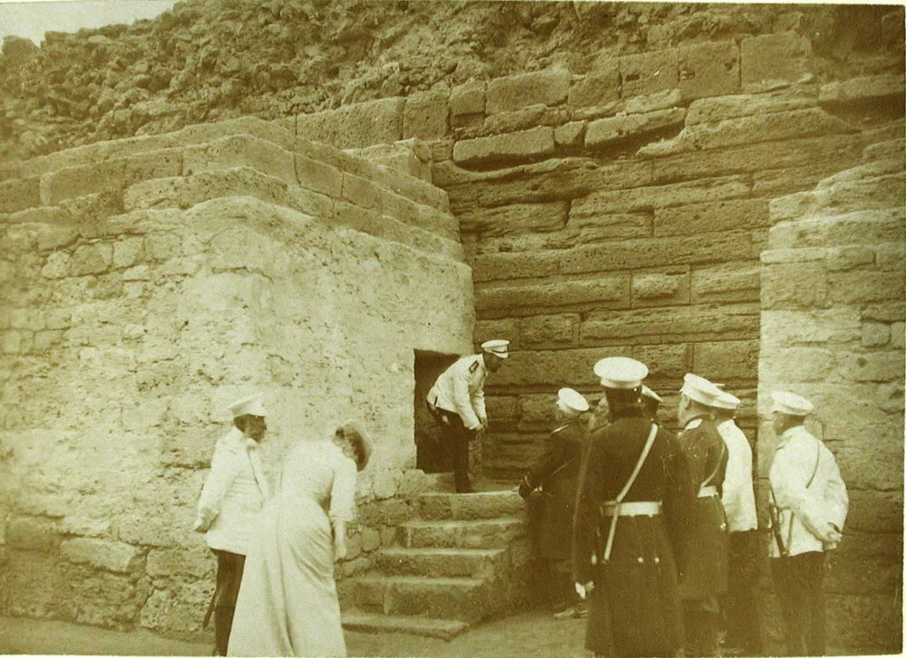 Emperor Nicholas II, Empress Alexandra Feodorovna and their entourage after the inspection of the ruins of the ancient Chersonesus fortress.