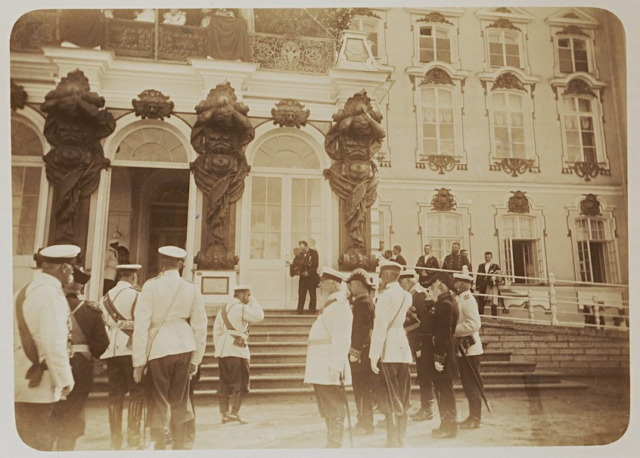 Emperor Nicholas II in front of the porch of the Catherine Palace in Tsarskoe Selo.