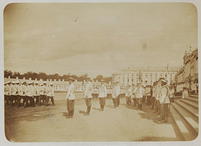Nicholas II takes the parade of the Preobrazhensky regiment
