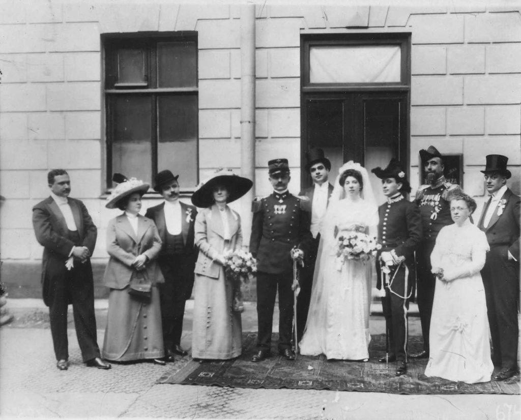 Near Italian embassy. Visit of the Italian King Victor Emmanuel III to Russia, 1902.