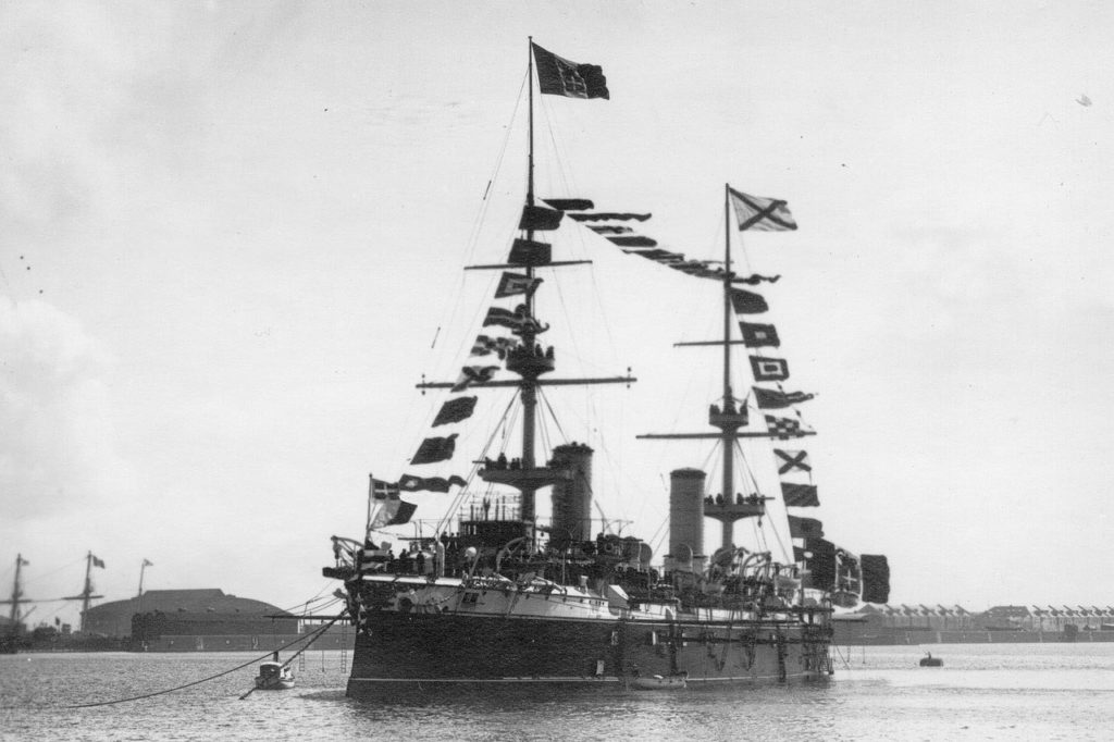 Russian navy ship. Visit of the Italian King Victor Emmanuel III to Russia, 1902.