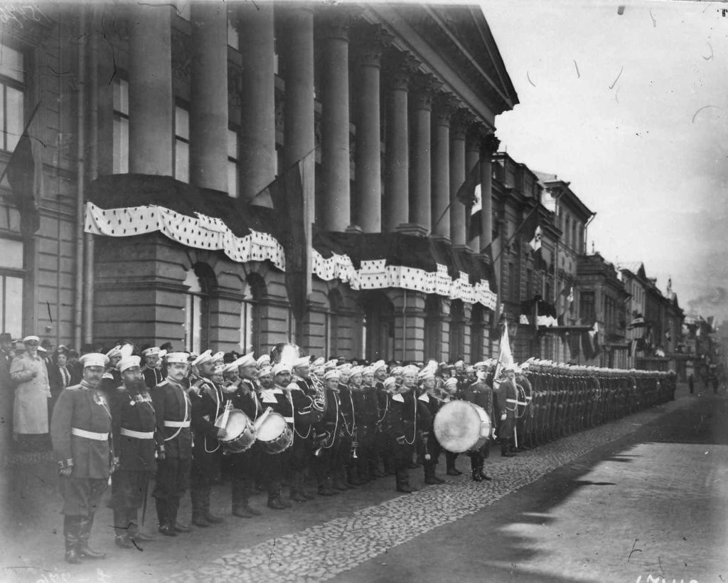 Military orchestra. Visit of the Italian King Victor Emmanuel III to Russia, 1902.