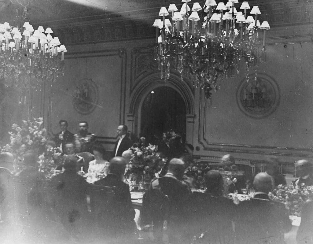 Official dinner. Italian King Victor Emmanuel III in Russia, 1902.
