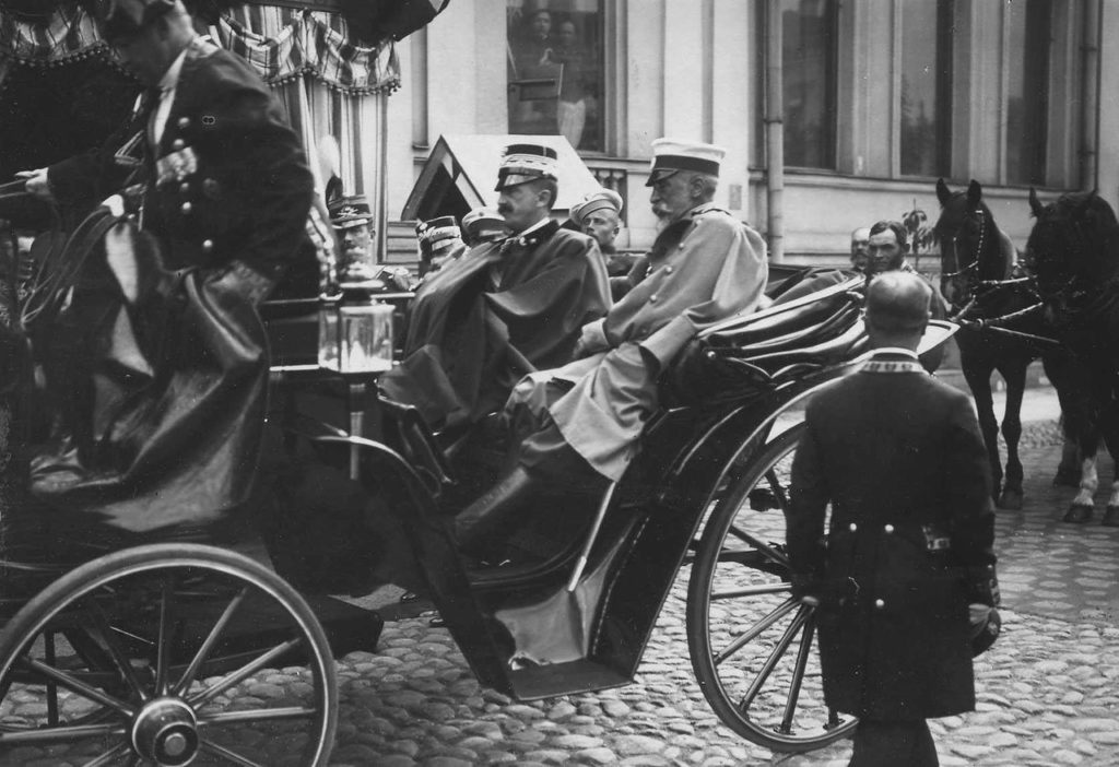 Italian King Victor Emmanuel III in the carriage, Russia, 1902.
