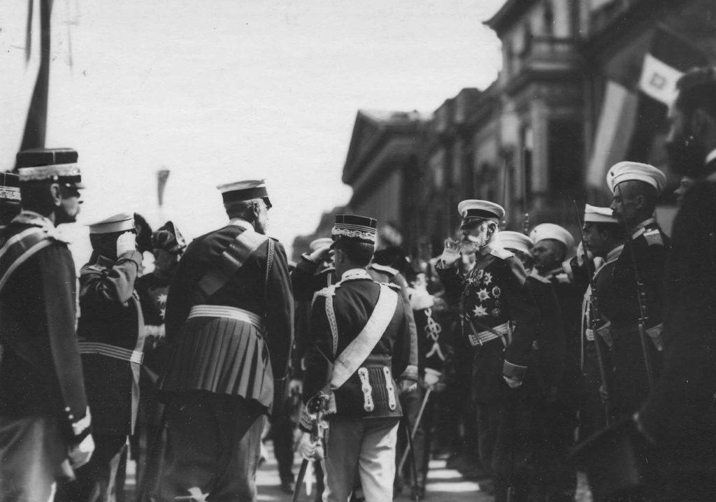 Greeting the Italian King Victor Emmanuel III