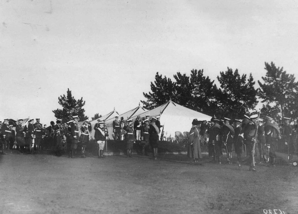 Parade ceremony, Italian King Victor Emmanuel III in Russia, 1902.