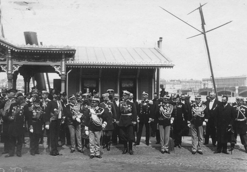 Parade. Italian King Victor Emmanuel III, Russia, 1902.
